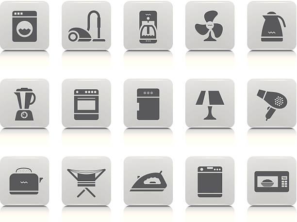 home appliances icon set - washing machine stock illustrations, clip art, cartoons, & icons