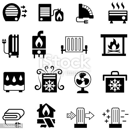Single colour black icons of household heating and cooling equipment. Isolated.