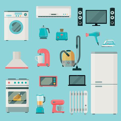 Home appliances icons set. Vector flat illustration