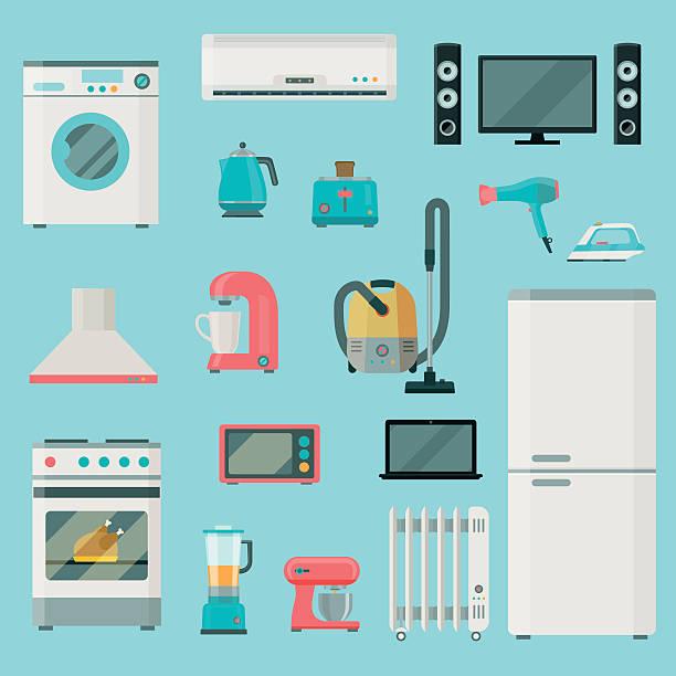 Home appliances icons set. Vector flat illustration Home appliances icons set. set of elements. Household appliances. Vector flat illustration electrical equipment stock illustrations