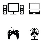 home appliances icons set