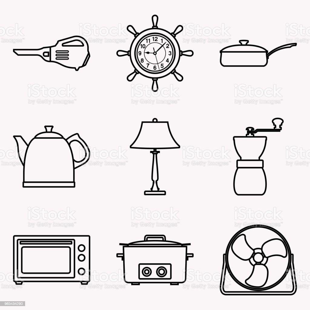 Ensemble d'icônes appareils ménagers. Ligne mince vectorielle - clipart vectoriel de Aspirateur libre de droits