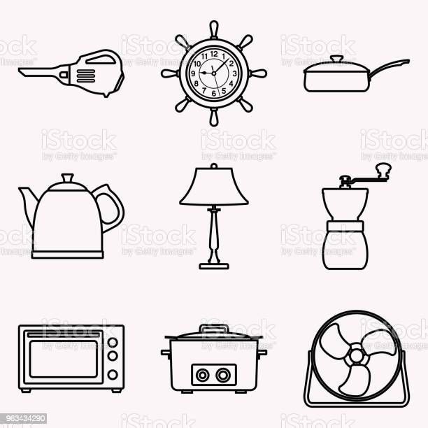 Zestaw Ikon Urządzeń Gospodarstwa Domowego Wektor Cienka Linia - Stockowe grafiki wektorowe i więcej obrazów Czajnik
