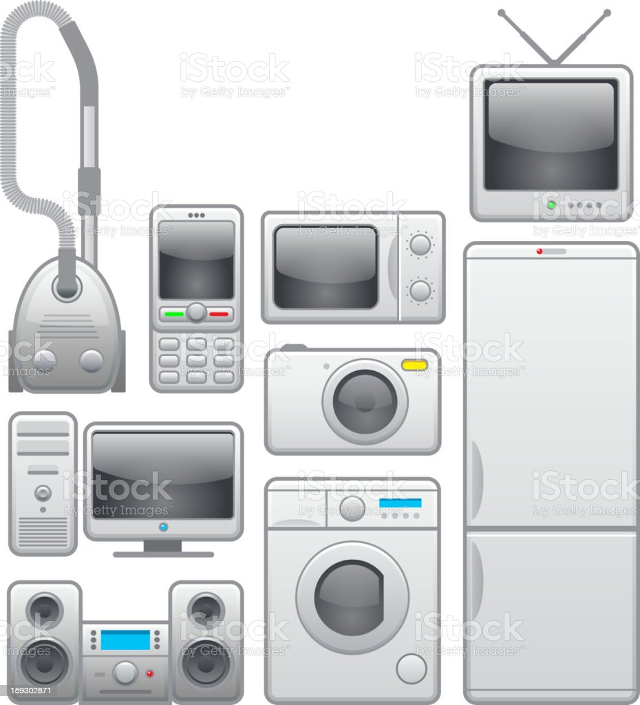 Home appliances icons set: washing machine, microwave, TV, refrigerator royalty-free stock vector art