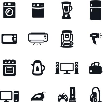 Black & white home appliances icons