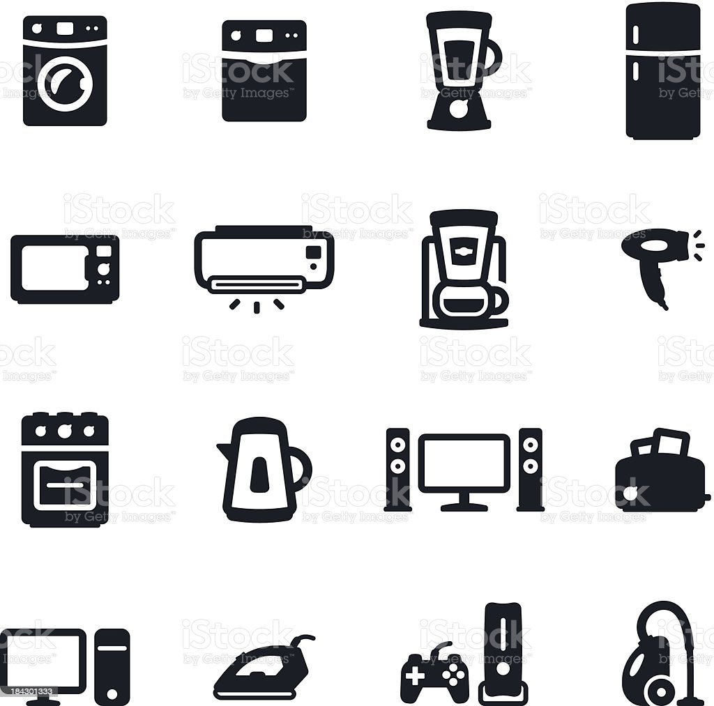 Home Appliances Icons vector art illustration