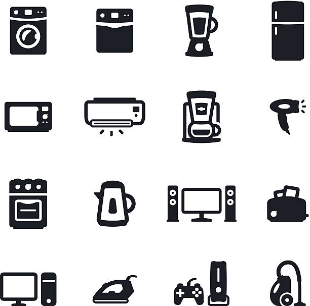 Home Appliances Icons Black & white home appliances icons refrigerator stock illustrations