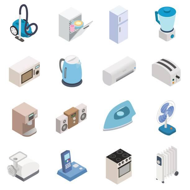 haushaltsgeräte-icons - küchenmixer stock-grafiken, -clipart, -cartoons und -symbole