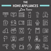 Home appliances line icon set, technology symbols collection, vector sketches, logo illustrations, household linear pictograms package isolated on black background, eps 10.