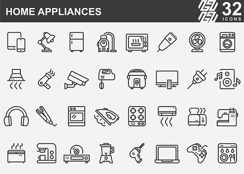 Home Appliances Line Icons