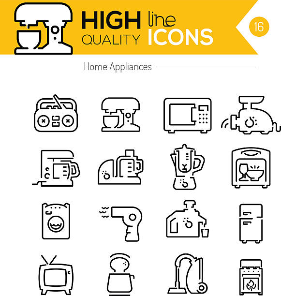 haushaltsgeräte linie icons - vakuumverpackung stock-grafiken, -clipart, -cartoons und -symbole