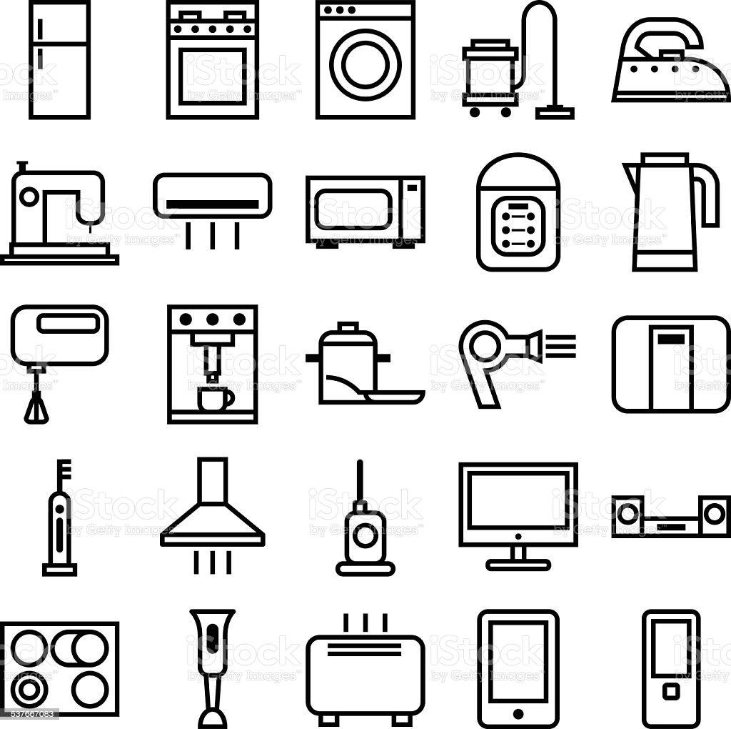 Home Appliances linear icons vector art illustration