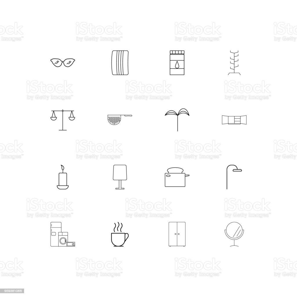 Ev Aletleri Dogrusal Ince Icons Set Basit Vektor Simgeler