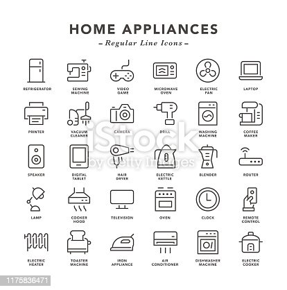 Home Appliances - Regular Line Icons - Vector EPS 10 File, Pixel Perfect 30 Icons.