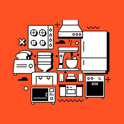 Home Appliances Related Line Design Style Web Banner