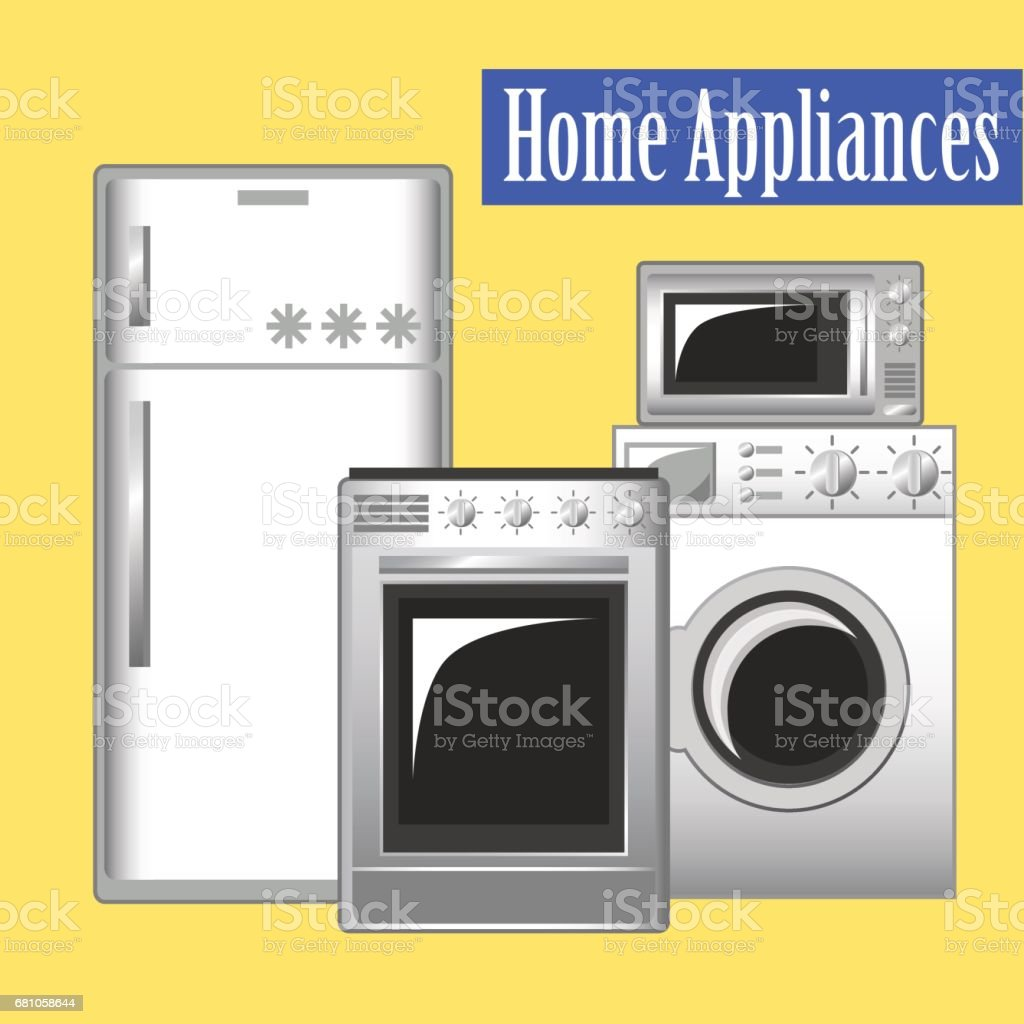Home Appliances Set Kitchen Ware Refrigerator Washing Machine Microwave Stove Stock Illustration Download Image Now Istock