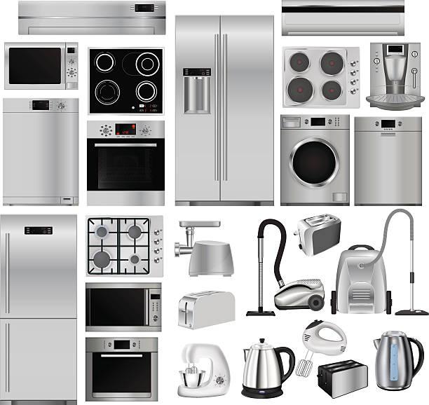 haushaltsgeräte. satz von haushalt küche technics - haushaltsmaschine stock-grafiken, -clipart, -cartoons und -symbole