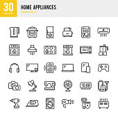 Set of 30 Home Appliances thin line vector icons