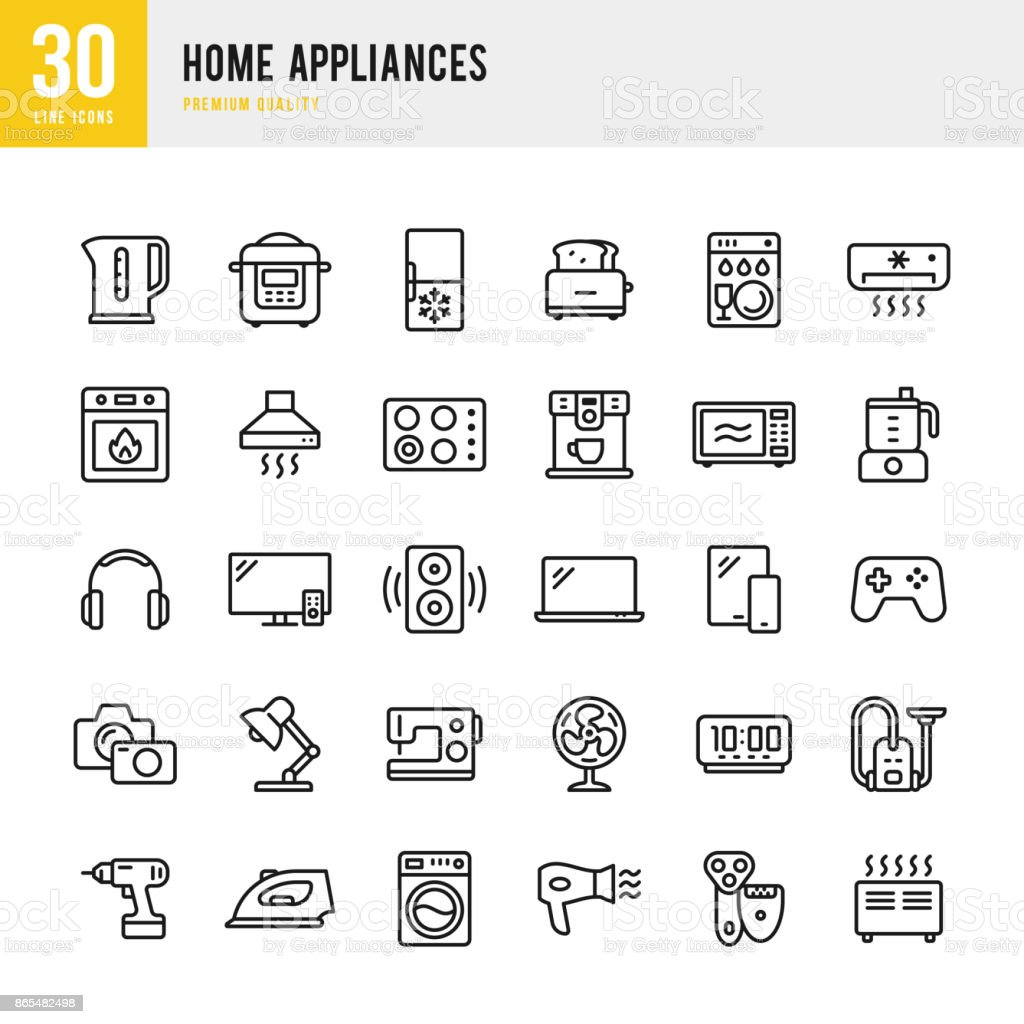 Home Appliances - set of thin line vector icons vector art illustration