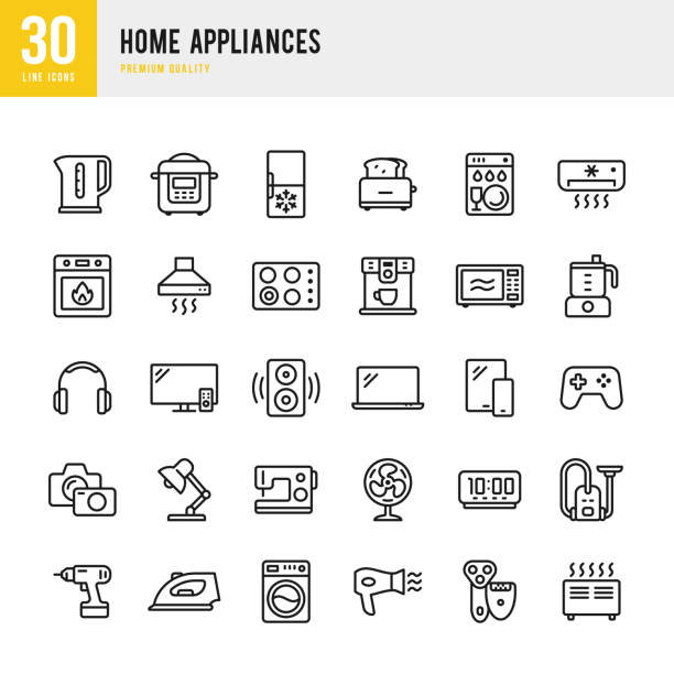 Home Appliances - set of thin line vector icons Set of 30 Home Appliances thin line vector icons kitchen stock illustrations
