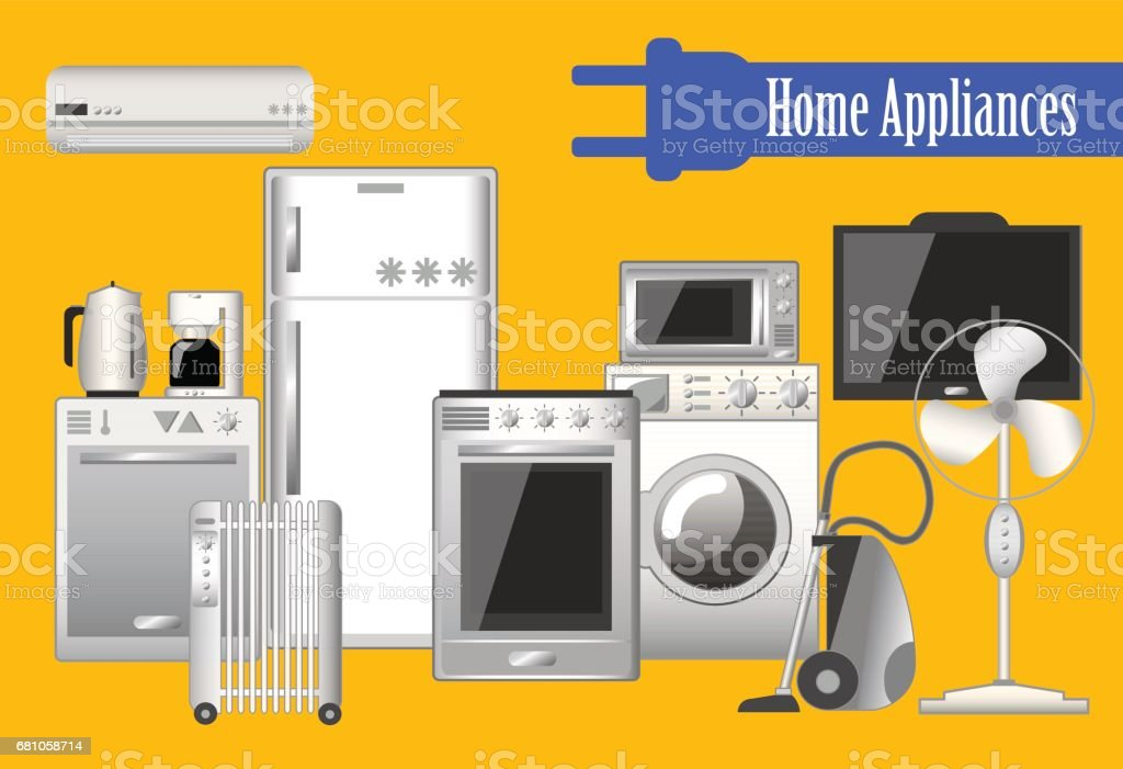 Home appliances set of vector illustrations, electronic household keeping devices. royalty-free home appliances set of vector illustrations electronic household keeping devices stock vector art & more images of advertisement