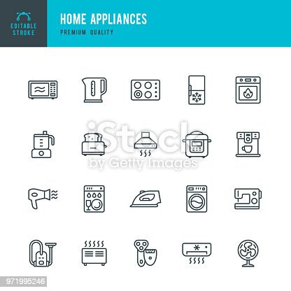 Set of Home Appliances thin line vector icons