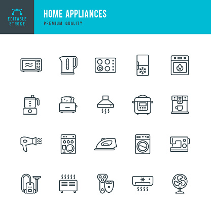Home Appliances - set of vector line icons