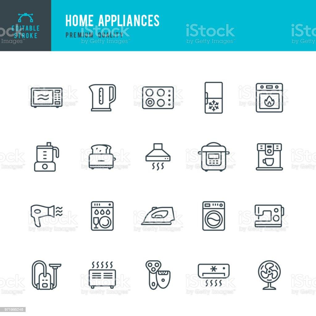 Haushaltsgeräte - Vektor-Linie-Icons set – Vektorgrafik