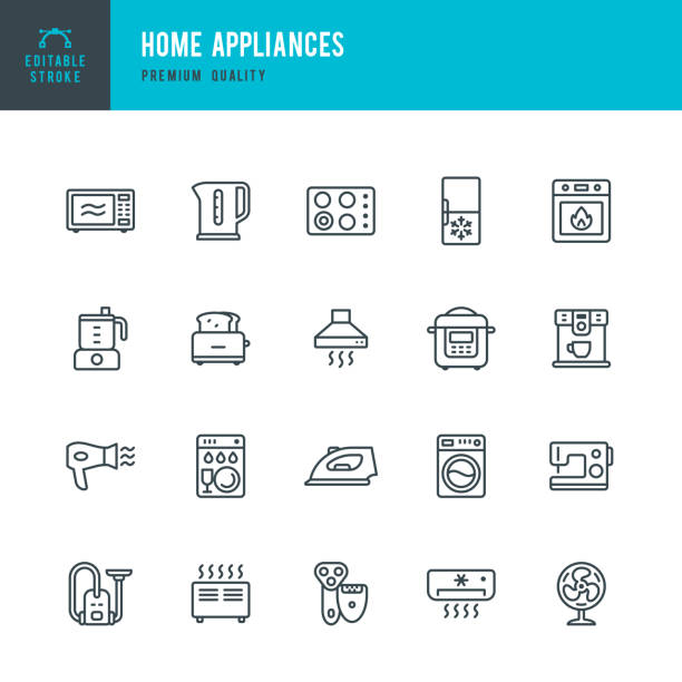 Home Appliances - set of vector line icons Set of Home Appliances thin line vector icons oven stock illustrations