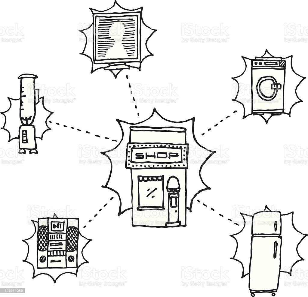 Home appliances shop / Vector Hand-drawn royalty-free stock vector art