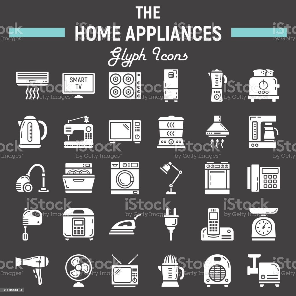 Home Appliances Solid Icon Set Technology Symbols Collection Vector