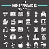 Home appliances solid icon set, technology symbols collection, vector sketches, logo illustrations, household linear pictograms package isolated on black background, eps 10.