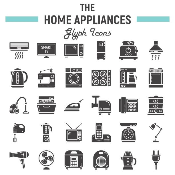 Home appliances solid icon set, technology symbols collection, vector sketches, logo illustrations, household linear pictograms package isolated on white background, eps 10. vector art illustration