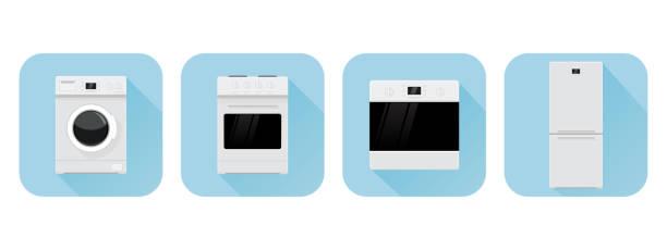 haushaltsgeräte-symbole. blaue symbole - haushaltsmaschine stock-grafiken, -clipart, -cartoons und -symbole