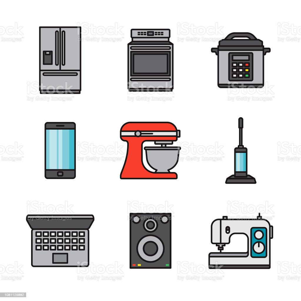 Home Appliances Thin Line Icon Set vector art illustration