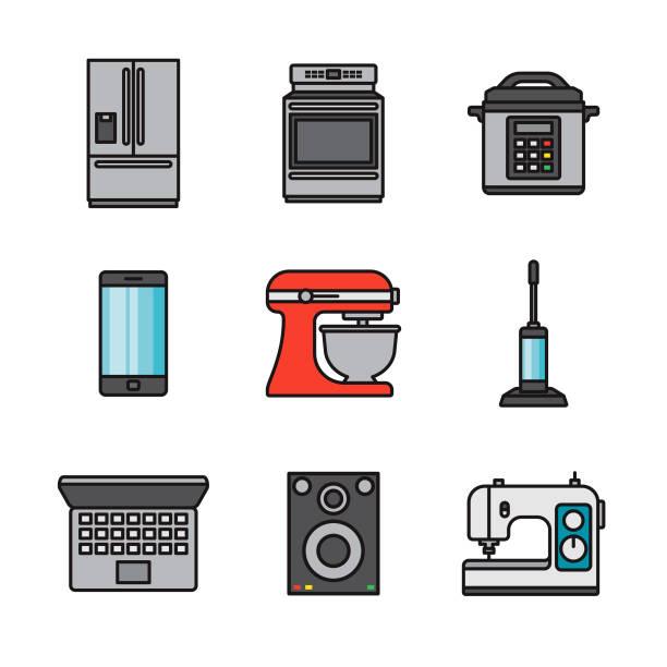 Home Appliances Thin Line Icon Set vector art illustration
