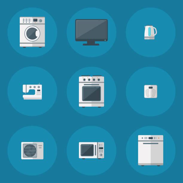 Haushaltsgeräte Vektor Haushaltsgeräte Haushaltsgeräte Küche elektrische Haustechnik für Hausaufgaben Werkzeuge illustration – Vektorgrafik