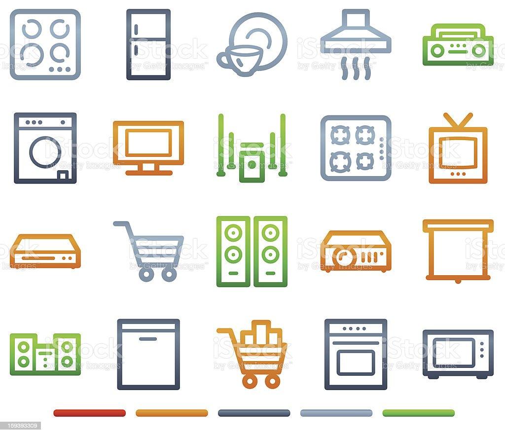 Elettrodomestici Web Icone Simboli A Colori Serie