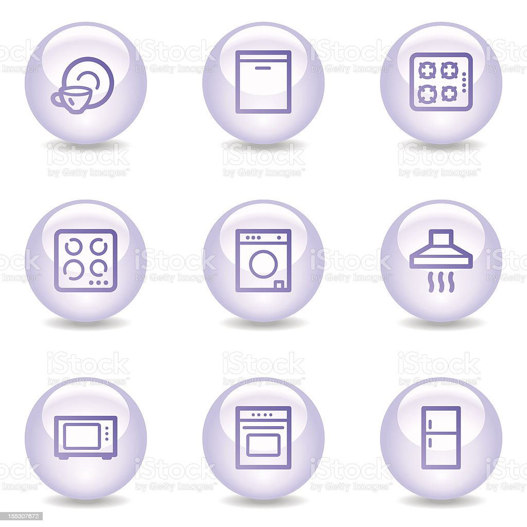 Home appliances web icons, glossy pearl series royalty-free stock vector art