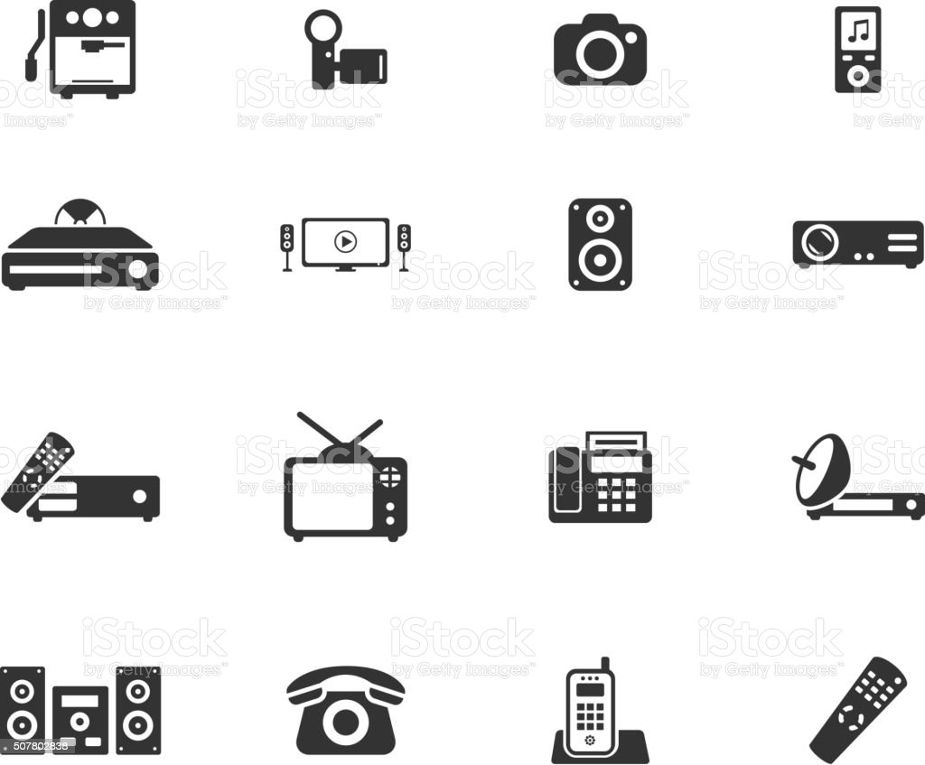 Home applicances simply icons vector art illustration