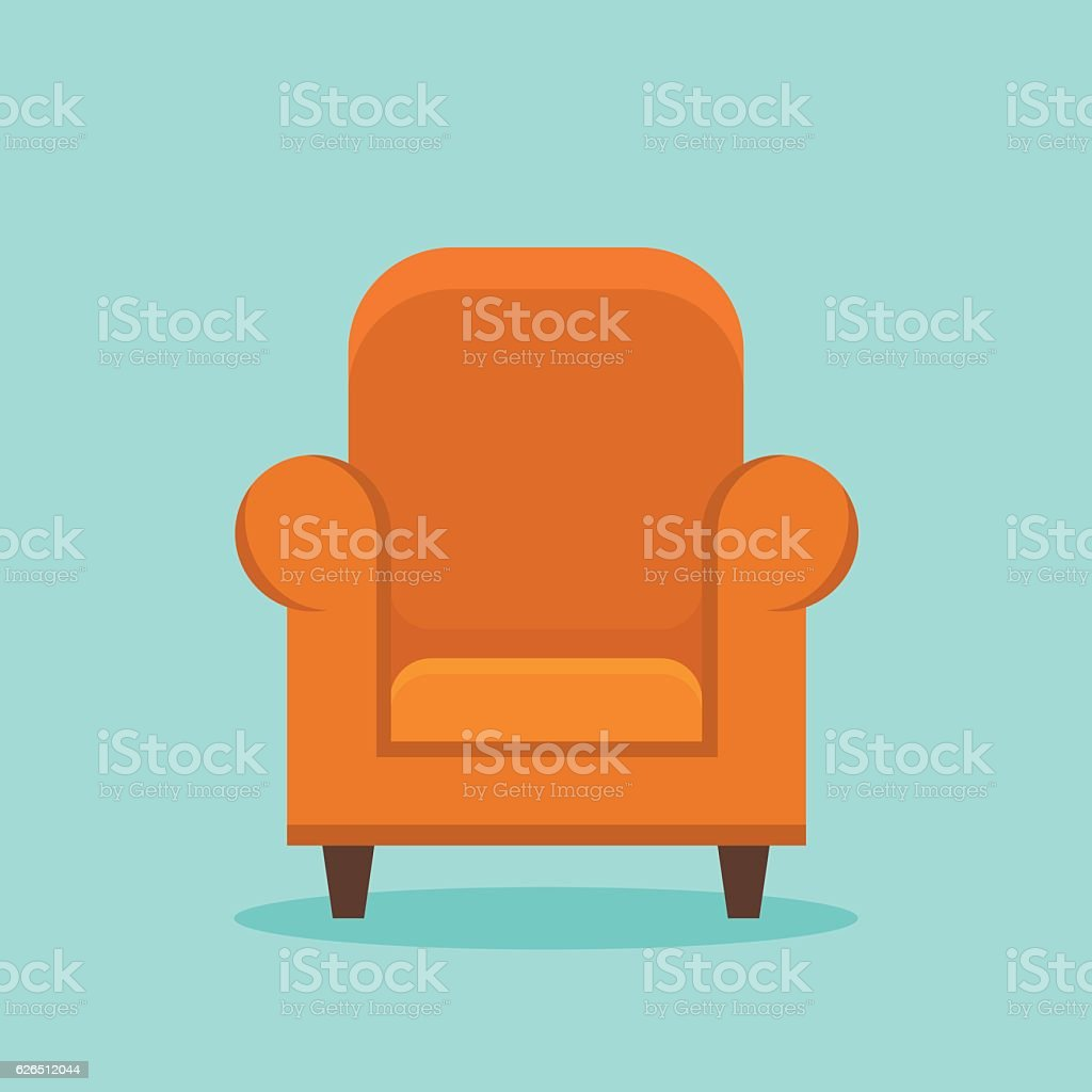 Home armchair flat style icon vector art illustration