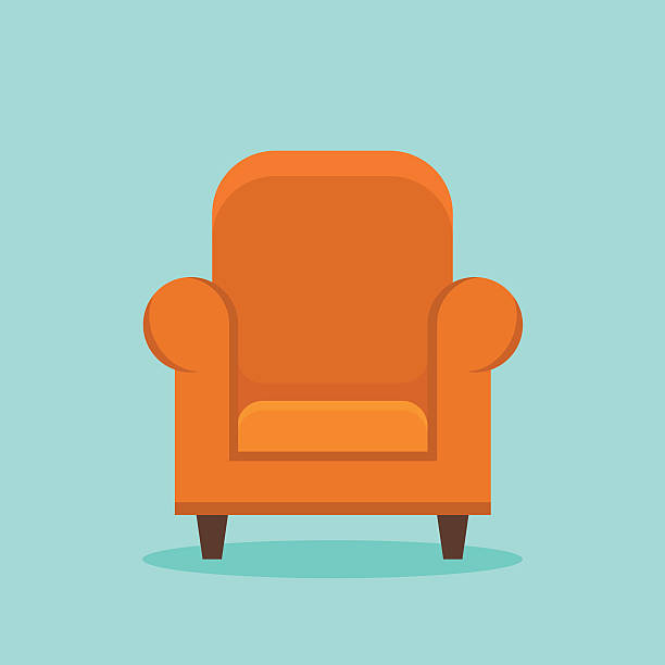 Home armchair flat style icon Home armchair isolated on background. Flat style icon. Vector illustration. armchair stock illustrations