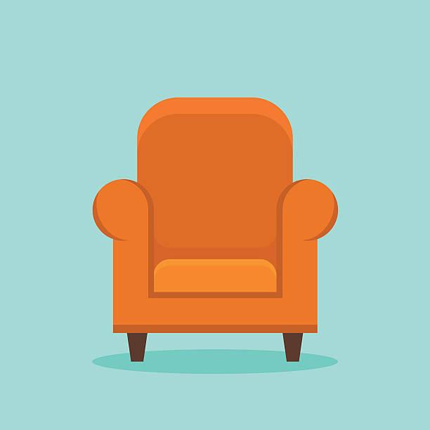 Home armchair flat style icon vector art illustration