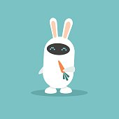 Home assistant. Cute white robot with bunny ears holding a carrot / flat editable vector illustration, clip art