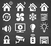 Home Automation and Security interface icon set. This image features a set of roaylty free vector icons in white on a chalkboard. The icons can be used separately or as part of a set. The chalk board has a slight texture.