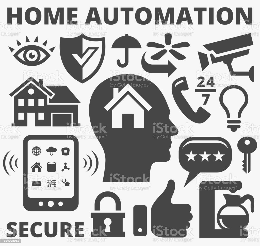 Home Automation And Security Technology Vector Icons Stock Vector ...
