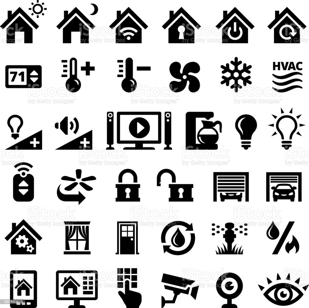 Home Automation Black and White royalty free vector interface icons vector art illustration