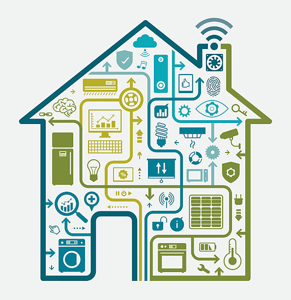 home automation concept - energy saving stock illustrations, clip art, cartoons, & icons