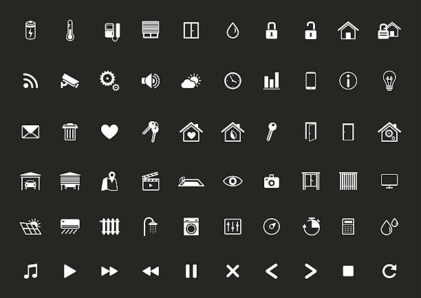 stockillustraties, clipart, cartoons en iconen met home automation icon set, smart home,home management - photography curtains