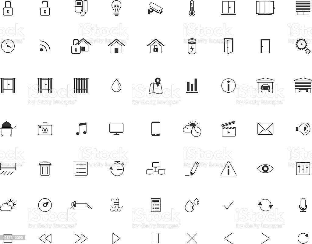 home automation icon set smart homethin minimalistic line vector stock vector art more images. Black Bedroom Furniture Sets. Home Design Ideas